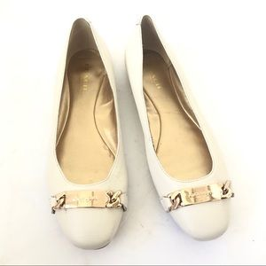 Coach Ivory Leather Bianca Ballet Flats Gold 6.5